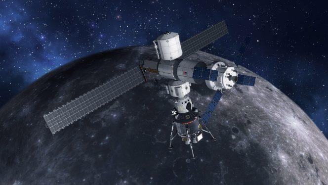 Il modulo lunare agganciato al Gateway, una piccola stazione spaziale da posizionare in orbita lunare. Crediti: Lockheed Martin
