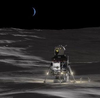 Illustrazione di come potrebbe apparire il nuovo modulo lunare Nasa. Crediti: Lockheed Martin
