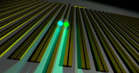 Due fotoni accoppiati che si propagano attraverso il reticolo di nanocavi di silicio (Credit: Sebastian Zentilomo/University of Sydney)