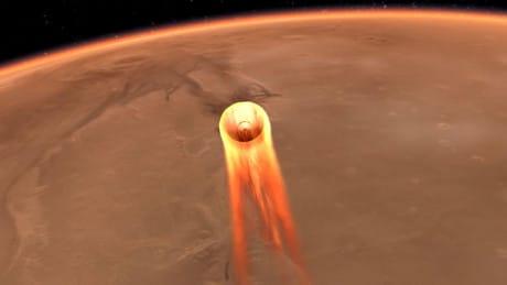 Illustrazione della fase di discesa di InSight, in cui il suo scudo termico arriverà a una temperatura di 1.500 °C (Credit: NASA/JPL-CALTECH)