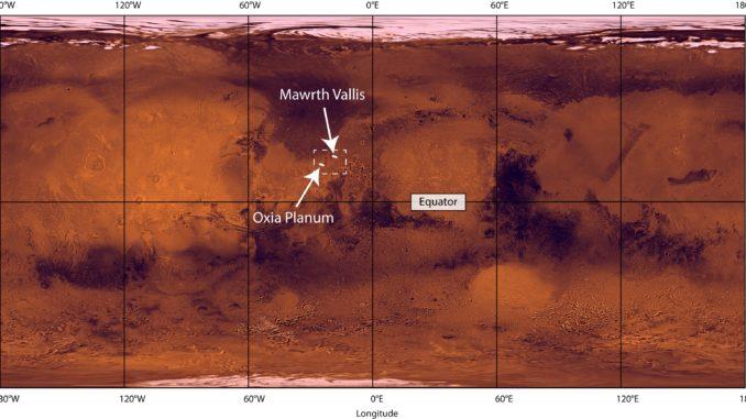 La posizione della regione Oxia Planum, scelta quale sito di sbarco del rover di ExoMars 2020. Crediti: Nasa/Jpl/Usgs