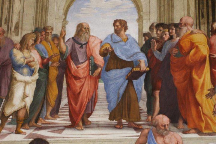 Due pensatori postulano dei punti di partenza su cui sono d'accordo e ne derivano le conseguenze. Raffaello Sanzio, Scuola di Atene, 1509-11.