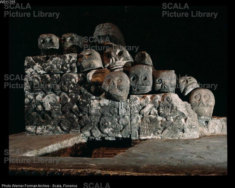 Questo tipo di struttura si trovava vicino ad ogni tempio azteco e veniva usata per custodire le teste dei guerrieri nemici uccisi. La rastrelliera dei teschi di Tenochtitlan, che fece inorridire gli invasori spagnoli, conteneva più di diecimila teste Crediti:Foto Werner Forman Archive/Scala, Firenze
