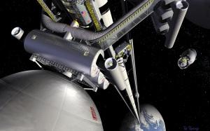 Illustrazione di un elevatore spaziale. Ci permetterebbe di inviare nello spazio cose e persone senza un grammo di carburante. | Nasa