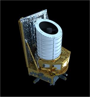 Impressione artistica del satellite Euclid. Crediti: Esa/Atg medialab