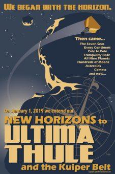 Poster del flyby di Ultima Thule creato dall'artista-astronomo Tyler Nordgen. Crediti: Nasa/Tyler Nordgen