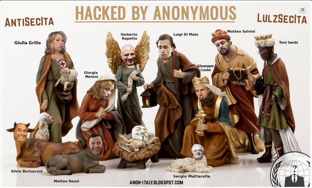 anonimous hacked per la salute presepe