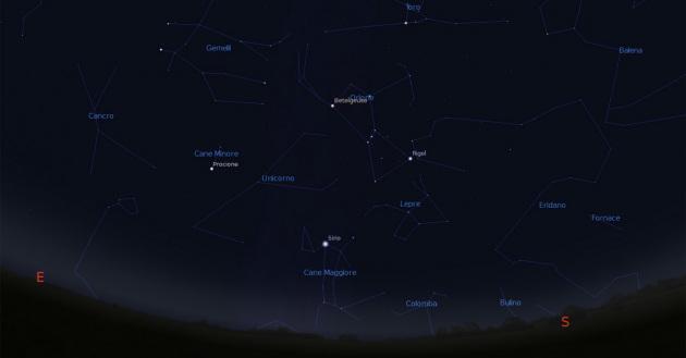 Le stelle cadenti delle Geminidi sembreranno provenire dalla costellazione dei Gemelli. Ecco dove si trova (clicca sull'immagine per ingrandirla).