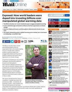 Scoop! Come i leader mondiali sono stati manipolati per investire milioni sulla base di dati fasulli sul global warming... Un articolo di David Rose sul Daily Mail del Sabato (4 febbraio 2017): interviene, John J. Bates.