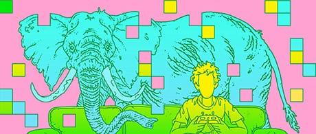 Un elefante in una stanza: una rappresentazione che mette in crisi gli algoritmi di apprendimento automatico. (Eric Nyquist for Quanta Magazine)