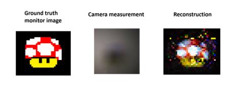 Confronto tra la figura di interesse (sinistra), la sua immagine proiettata sulla superficie opaca (centro) e l'immagine ricostruita dall'algoritmo (destra). (Credit: Charles Saunders/Nature)