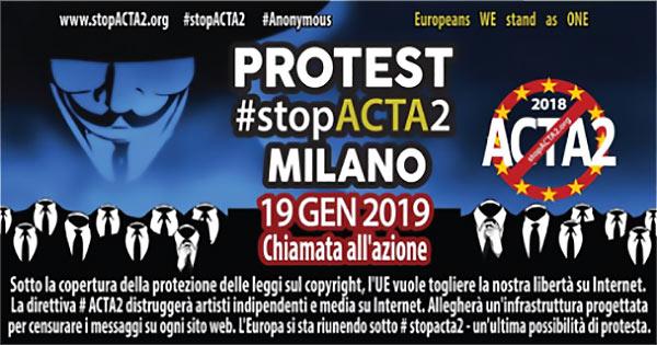 Protesta stop ACTA2 Milano 2019