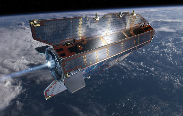Artist's depiction of GOCE in orbit above Earth. One side of the satellite always faces the sun. Solar panels mounted on the 'sunny side' provide power for the spacecraft. They are made of materials that can withstand temperatures as high as 160ºC (320 ºF) and as low as -170ºC (-274 ºF). Image Credit: ESA.