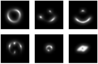 Alcuni esempi di archi gravitazionali simulati, utilizzati per addestrare la rete neurale a riconoscere lenti gravitazionali reali. Crediti: Petrillo, Tortora et al.