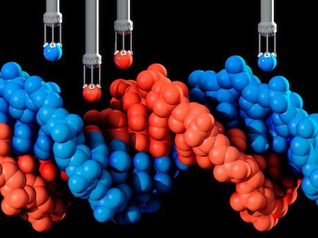Conceptual illustration depicting the process of genetic engineering by replacing DNA (deoxyribonucleic acid) atoms using atom grasping arms.