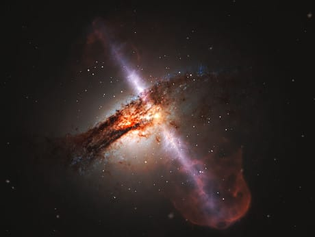 Illustrazione di getti materia emessi da un buco nero. (NASA/ESA/Scisti)