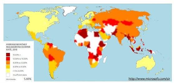 La concentrazione dei malware nel mondo secondo Microsoft