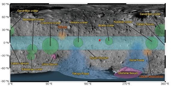 Geografia dell'asteroide 162173 Ryugu: il piccolo riquadro rosso all'interno della fascia equatoriale (in azzurro) è L08-E1, il sito scelto per il primo touchdown della sonda Hayabusa2. | JAXA