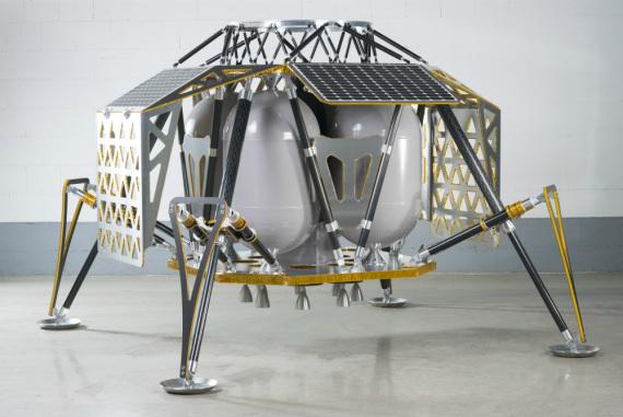 Il prototipo del lander di PTScientist: porterà sulla Luna strumenti per estrarre ossigeno, acqua e altri elementi dalla regolite, il suolo lunare. | PTScientist