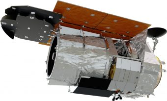 >Un recente rendering dell'aspetto finale del telescopio spaziale WFirst. Crediti: Nasa
