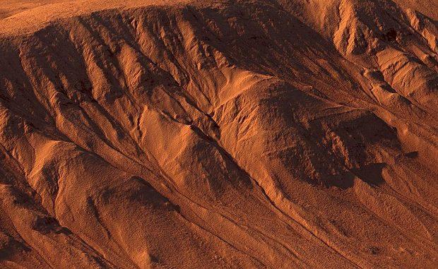 Le scie lasciate da possibili corsi d'acqua in superficie sul cratere Palikir, nell'equatore di Marte (fonte: Kevin Gill from Los Angeles, CA, United States) © ANSA/Ansa
