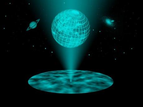 Un ologramma è una proiezione tridimensionale generata dalle informazioni contenute in una pellicola bidimensionale, ossia con una dimensione in meno. Anche il nostro universo potrebbe avere un'origine simile. (Cortesia TU Wien)