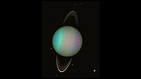 Immagine in falsi colori del pianeta Urano catturata dal satellite spaziale Hubble (Credit: NASA/Erich Karkoschka/Univ. Arizona)