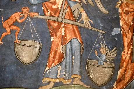 La pesa delle anime (dettaglio del Giudizio Universale, Saint-Pierre-le-Jeune, Strasburgo; © Godong/UIG/AGF)
