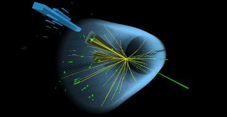 Questo evento di collisione registrato nel 2018 al Large Hadron Collider ha prodotto un bosone di Higgs e un bosone Z. I due coni grigi rappresentano getti di particelle che sono decadute da un quark bottom e un anti-quark bottom, che a loro volta probabilmente sono decaduti da un bosone di Higgs. Le linee verdi rappresentano un elettrone e un positrone, probabilmente decaduti da un bosone Z. (Thomas McCauley ©2018 CERN)