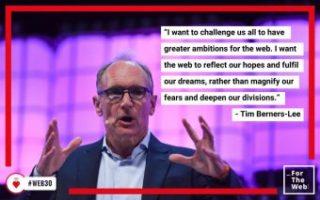 Tim Berners-Lee, inventore del Web e fondatore del Consorzio W3C e della Fondazione World Wide Web. Crediti: da twitter @webfoundation