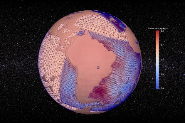 """Una mappa della Terra sulla base della velocità di propagazione delle onde """"S"""" dei terremoti."""