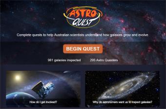 Sito di AstroQuest, dal quale ci si può registrare per contribuire alla ricerca identificando le galassie nelle immagini. Crediti: Icrar/AstroQuest