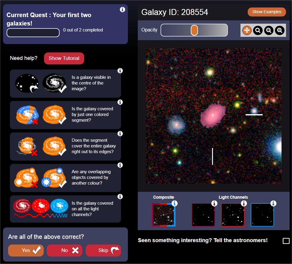 Schermata dalla quale si procede con l'identificazione e l'eventuale correzione. Crediti: Icrar/AstroQuest