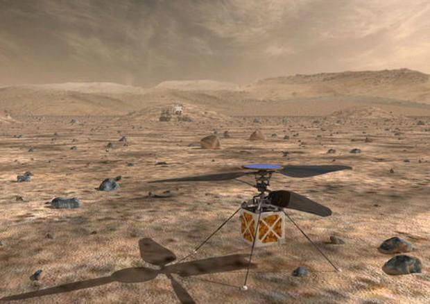 Rappresentazione artistica del piccolo elicottero marziano, simile a un drone, che la Nasa è pronta a fare sbarcare su Marte con la missione Mars 2020 (fonte: NASA/JPL-Caltech) © ANSA/Ansa