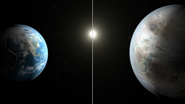 Esopianeti: Kepler-452b (a destra) e la Terra, messi a confronto in un'illustrazione artistica.|NASA