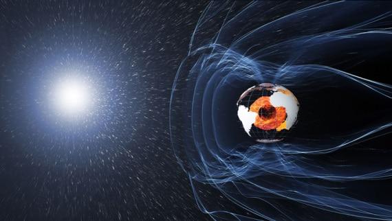 il sole e il campo-magnetico della-terra