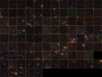 I 100 quasar identificati dai dati di Hsc. Le prime sette righe rappresentano le 83 nuove scoperte, mentre le ultime due righe rappresentano 17 quasar precedentemente noti nell'area di rilevamento. Appaiono estremamente rossi a causa dell'espansione cosmica e dell'assorbimento della luce nello spazio intergalattico. Tutte le immagini sono state ottenute da Hsc. Crediti: Naoj