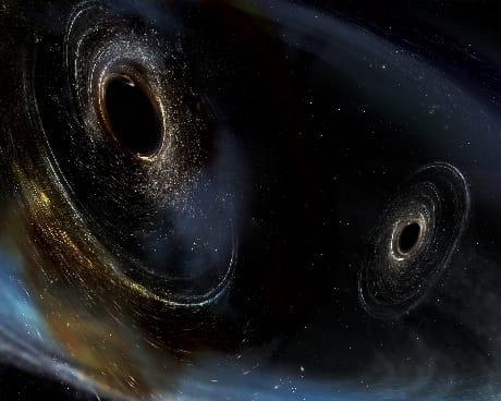 Interpretazione artistica della fusione di due buchi neri (Cortesia LIGO/Caltech/MIT/Sonoma State/Aurore Simonnet)