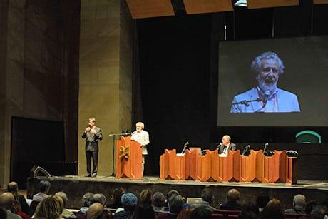 Piergiorgio Odifreddi in un suo intervento nel corso di una passata edizione del Festival (Cortesia Festa di Scienza e di Filosofia – Virtute e Canoscenza)