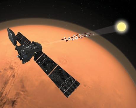 Illustrazione della tecnica di analisi dell'atmosfera marziana usata da TGO. (Cortesia Esa/Atg Medialab)