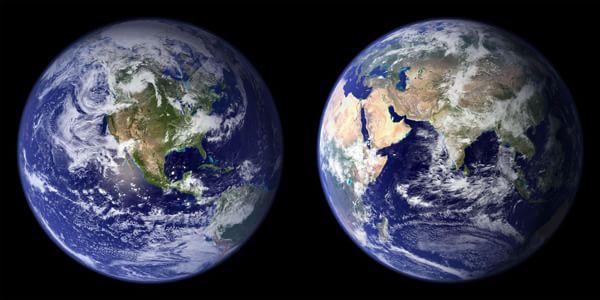 La Terra, due emisferi. Fotografia NASA Goddard Space Flight Center, 2001