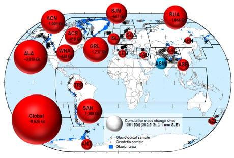 Massa complessiva persa dai ghiacciai delle varie regioni dal 1961 al 2016. Le cifre sono in miliardi di tonnellate. (Cortesia Zemp et al. 2019, Nature)