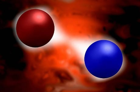 Quantum vacuum fluctuations. Computer illustration representing vacuum fluctuations between two subatomic particles. A vacuum fluctuation is the tempo...