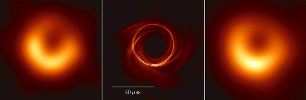 L'immagine dell'orizzonte degli eventi di M87 (a sinistra) è qui messa al confronto con una simulazione (in mezzo) e una simulazione sfocata alla risoluzione attesa all'EHT (a destra) [Fonte: Akiyama et al e ApJL]