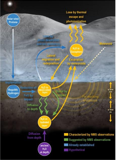 Ricostruione del meccanismo del rilascio di acqua dal suolo lunare in seguito a un impatto. (Cortesia NASA Goddard/Mehdi Benna/Jay Friedlander)