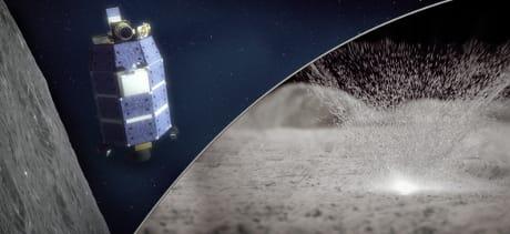 Nell'illustrazione, LADEE e un impatto di meteorite sul suolo lunare (Cortesia NASA/Goddard/Conceptual Image Lab)
