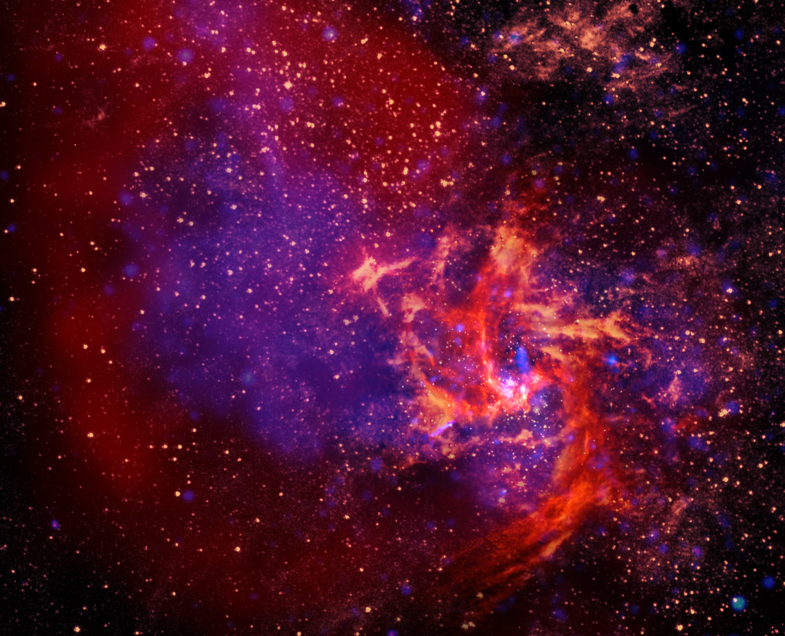 The center of our Milky Way Galaxy is anchored by a black hole that is nearly 5 million times the mass of our Sun. Surrounding it is a chaotic city of stars, gas, and dust that we call Sagittarius A. We stacked false-color X-ray, infrared, and radio images into this single picture to show you the different structures hidden inside the core of our Galaxy. X-rays (purple) radiate from the super-hot gas trapped in the black hole's grasp. Stars plus tons of dust grains get warmed by the constant chaos in orbit around the black hole and then glow in infrared light (gold). And the enormous pools and three-armed rivers of gas shine in radio light (oranges and reds) to trace the complexity of magnetic fields in this violent neighborhood.