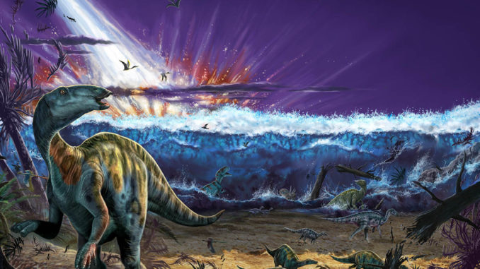 Artwork of a possible extinction scenario where an asteroid triggers a tsunami.