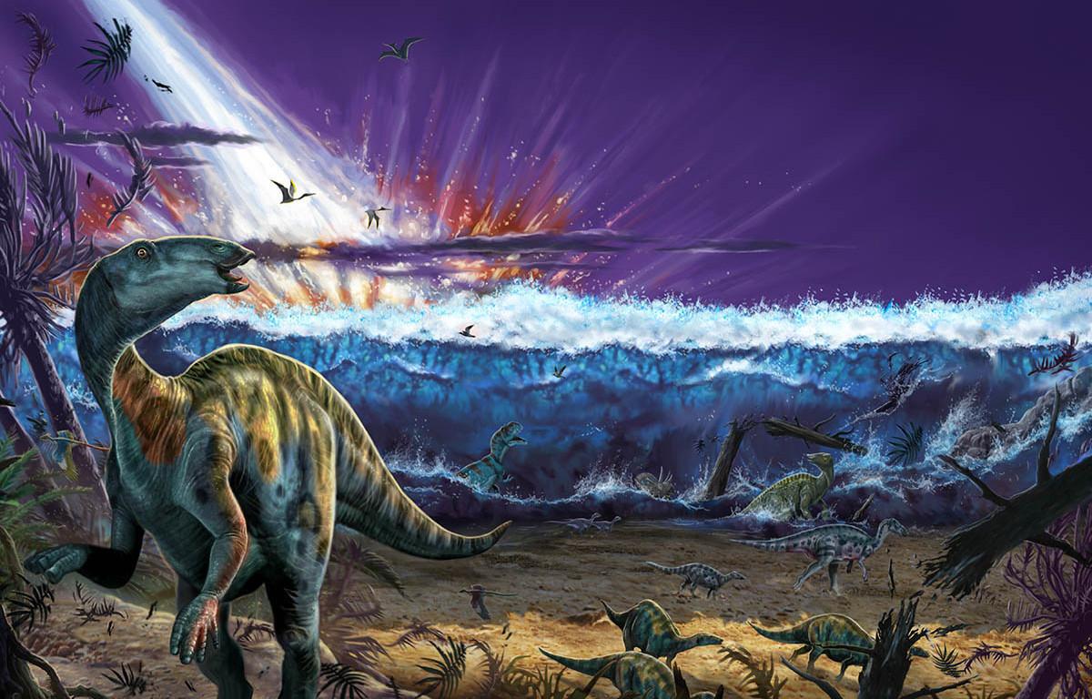 Artwork of a possible extinction scenario where an asteroid triggers a tsunami.
