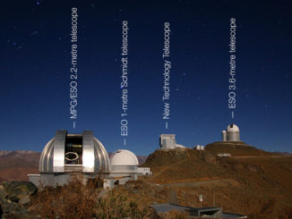 This image shows four of the telescopes at La Silla Observatory. Although many of the telescopes at La Silla have been decommissioned over the years, all telescopes in this image are still in use. As the night sky begins to reveal stars, the telescope domes are opened to commence long hours of observation.